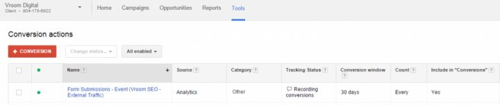 Conversion Data Google AdWords