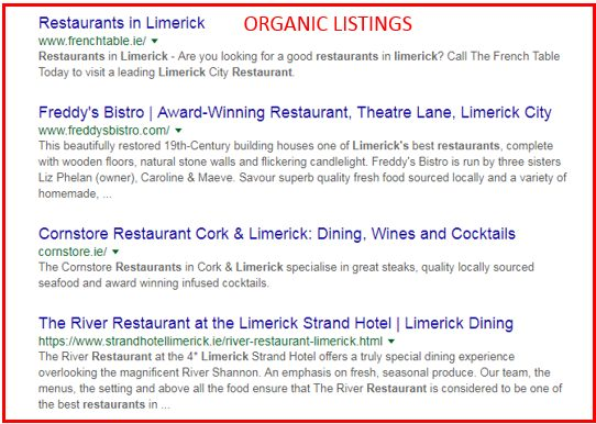 Organic Listings in SERPs for Local SEO Optimisation