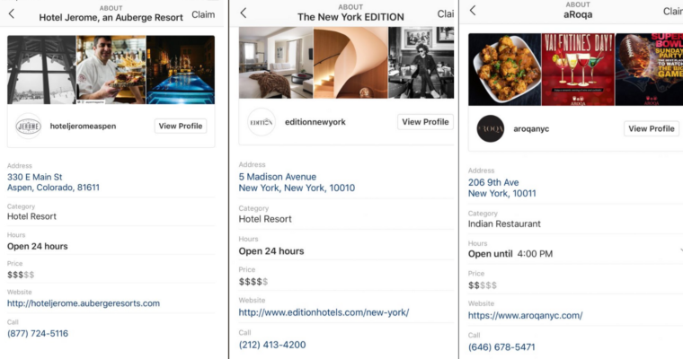 In-App Local Business Profile Pages on Instagram