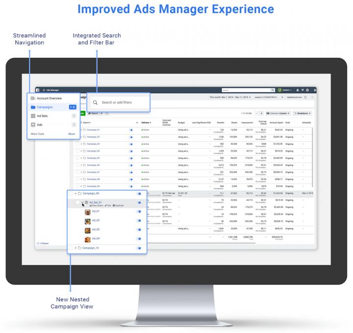 New Facebook Ads Manager Design Layout
