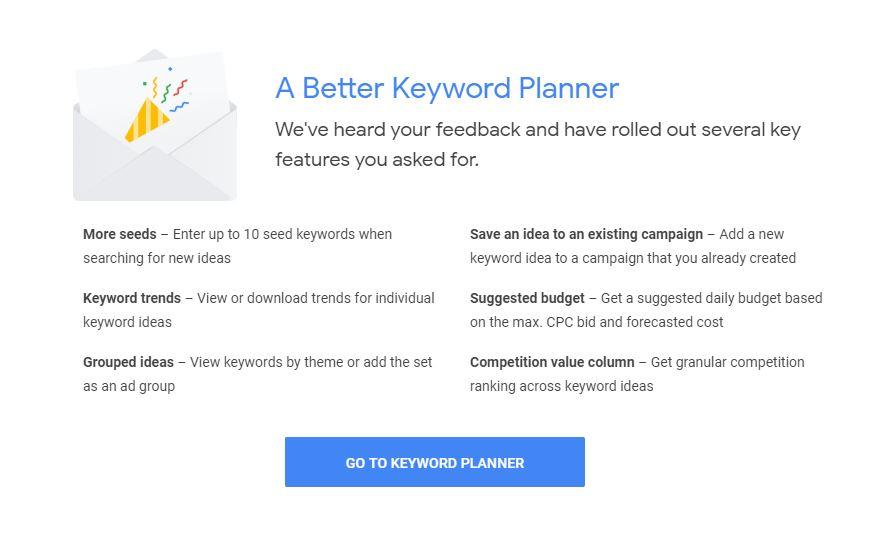 Keyword Planner options