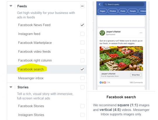 Facebook Search Options