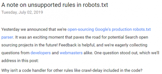 Robots.txt Noindex No Longer Supported